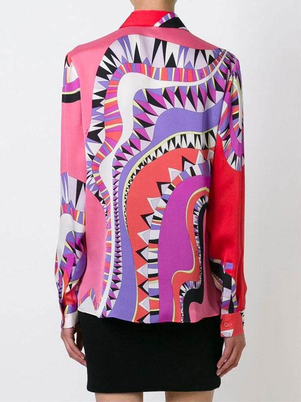 Wedding - Emilio Pucci Multi-colored Graphic Printed Shirt Blouse Red