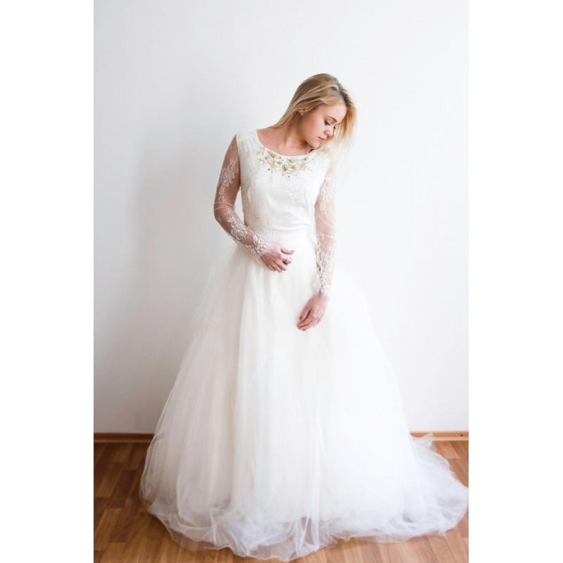 Sample Sale Ivory Tulle Wedding Gown With Gold Beading One Of A