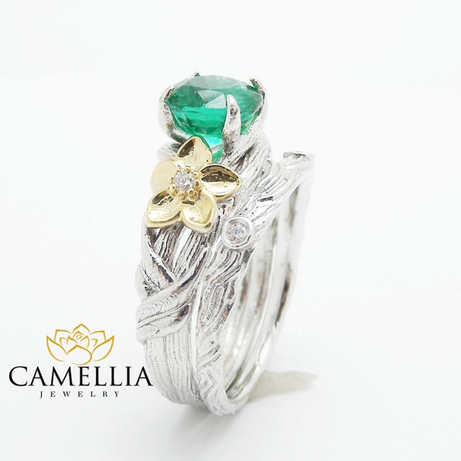 Mariage - Unique Emerald Engagement Ring 14K Gold Twig Engagement Ring Natural Emerald Ring