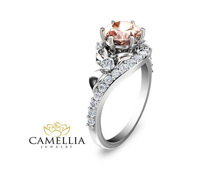 Hochzeit - Half Eternity Morganite Engagement Ring 14K White Gold Morganite Ring Half Eternity Diamond Ring