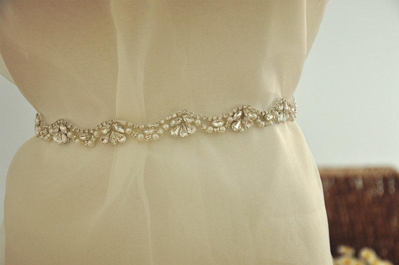 Pearl And Rhinestone Lique Trim Diy Bridal Sash Wedding Crystal For Belt