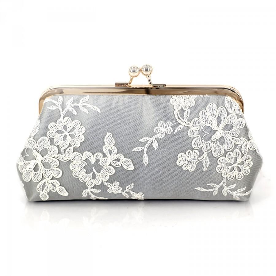Mariage - Alencon Lace Bridesmaids Clutch in Silvery Grey