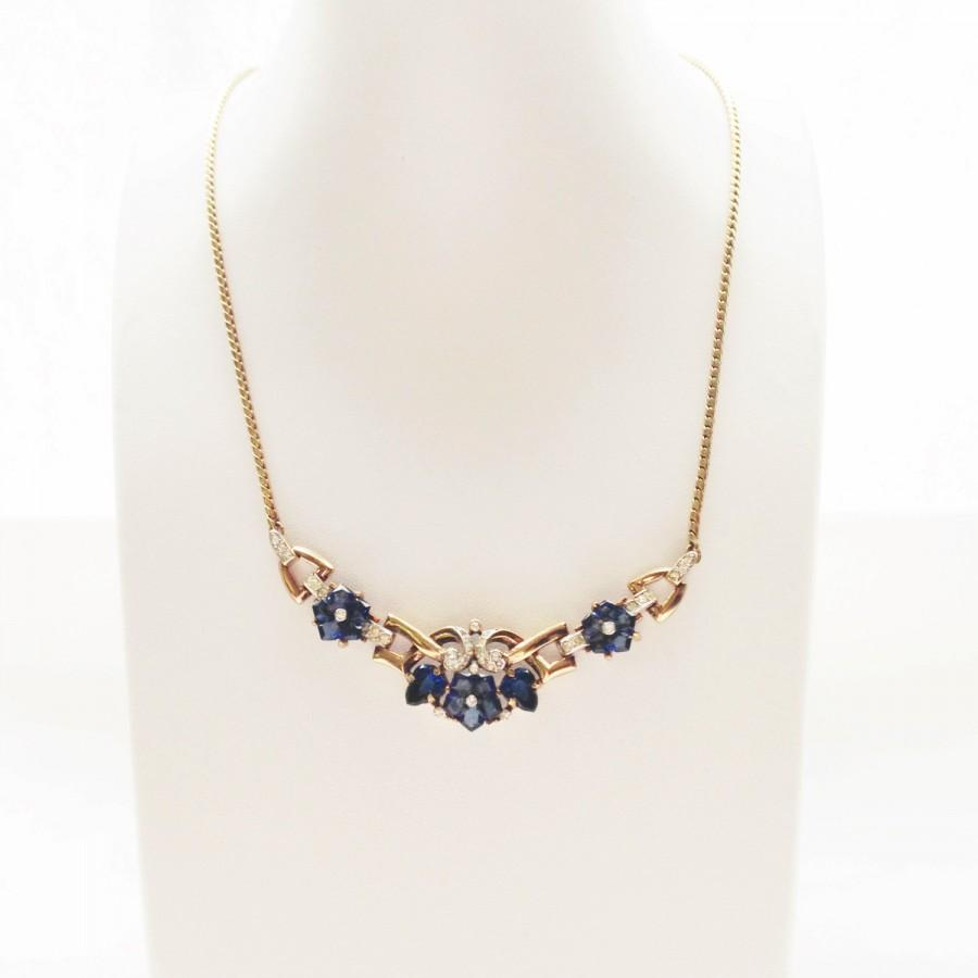 Mariage - Wedding Necklace Bridal Jewelry, Something Blue, Trifari Fruit Salad Necklace, Alfred Philippe, Bridal Accessories, 1940s Antique Jewelry