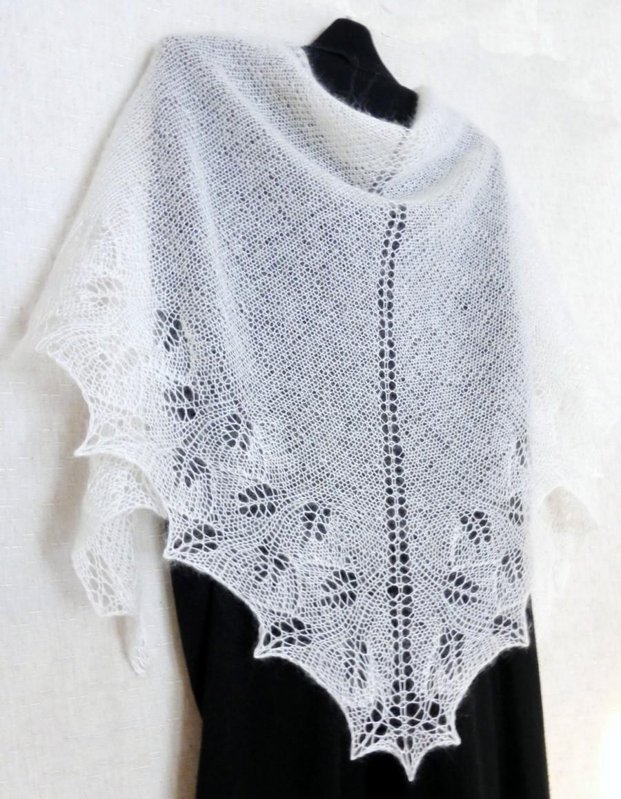 Snow White Lace Shawl Wedding Winter Women Knit Made To Order Hand Knitted Bridal Wrap Openwork