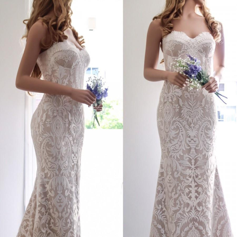 Wedding - Lace Wedding Dress/ Boho Wedding Dress/ Sexy Wedding Dress/ Unique Wedding Dress/ Corset Wedding Dress/ Strapless Bridal Gown