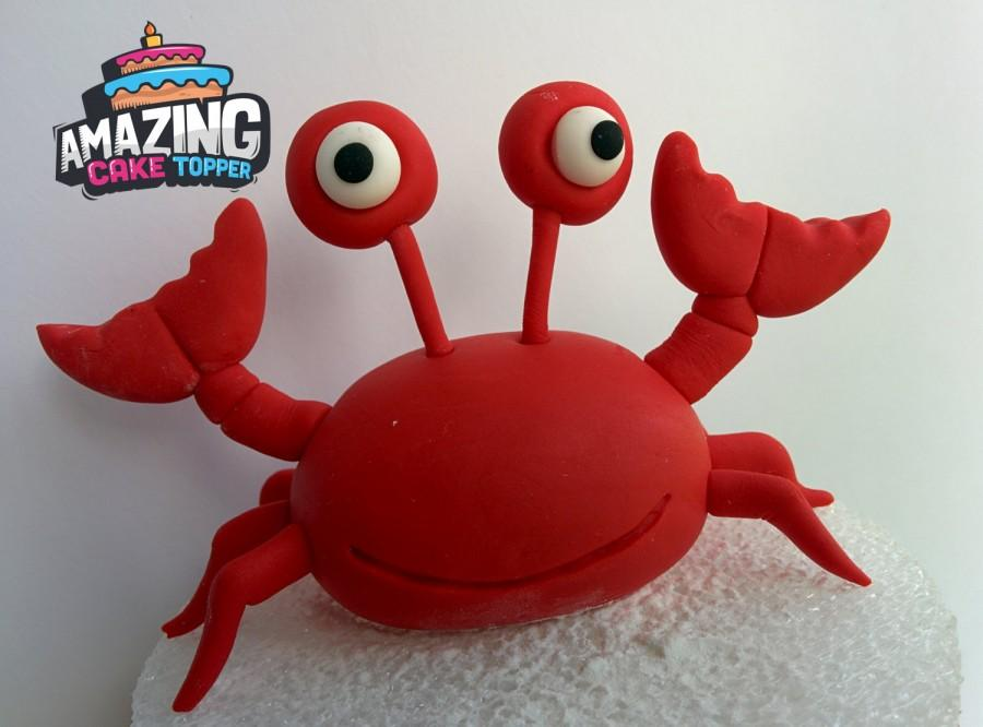 "زفاف - Red Crab Fondant Cake Topper of Disney. Ready to ship in 3-5 business days ""We do custom orders"""