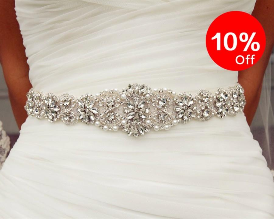 Mariage - 10% off, Bridal Dress Belt, Wedding Dress Sash, White, Rhinestone sash for party, Pure Handmade Bridal Sash,Size:12.8x2inches. YD88062
