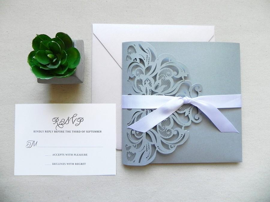 Silver And Rose Glitter Lace Laser Cut Wedding Invitation Suite ...