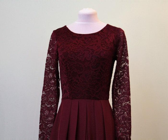 Свадьба - Long burgundy lace dress for bridesmaids Burgundy bridesmaid dress Long bridesmaid dress Long prom dress Burgundy dress women