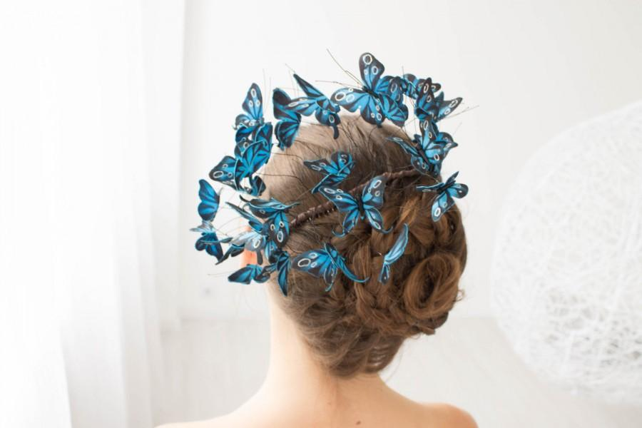 زفاف - Blue Butterflies Comb Wholesale Hair Accessory Decoration Butterflies Crown Bridal Hair Vines Wedding Hair Wedding Bridal Prom Hair Gifts