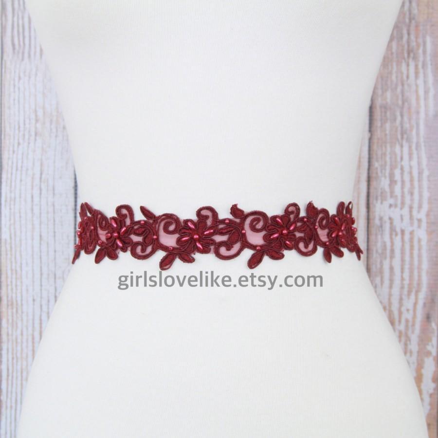 زفاف - Burgundy or Wine Pearl Beaded Lace with Satin Ribbon Sash, Bridal Burgundy Sash, Bridesmaid Sash,Flower Girl  Sash, Burgundy Lace Headband