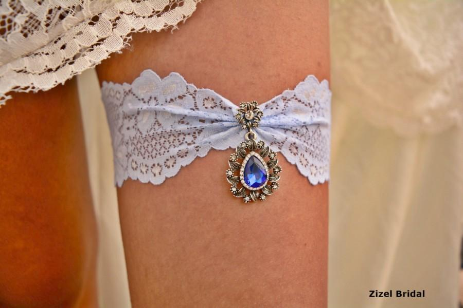 Свадьба - Blue Wedding Garter, Bridal Accessories, Light Blue Garter, Lace Garter Set, Blue Bridal Garter, Blue Garter, Crystal Garter, Something Blue