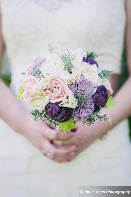 Свадьба - Romantic Wedding Bouquet -Ivory Blush Purple, Bridal Bouquet, Keepsake Alternative Bouquet, Sola Bouquet, Shabby Chic Rustic Wedding
