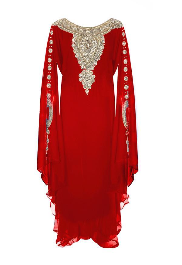 Свадьба - Red Gold Embellished Kaftan Dress - Jywal