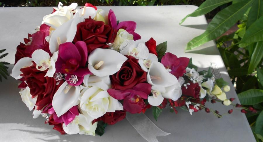 Hochzeit - Silk cascade wedding bridal bouquet red white made of orchids roses and callas
