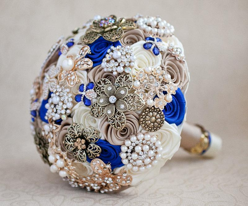 Brooch Bouquet, Wedding Bouquet, Bridal Bouquet, Ivory Champagne And ...