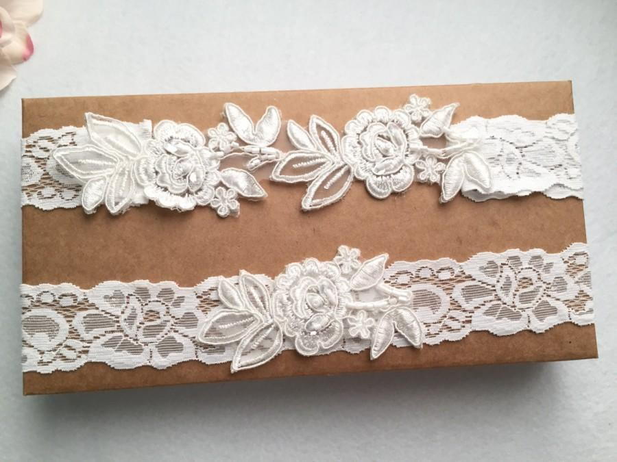 Свадьба - Wedding Garter , bridal garter, off white Lace Garter, A19#