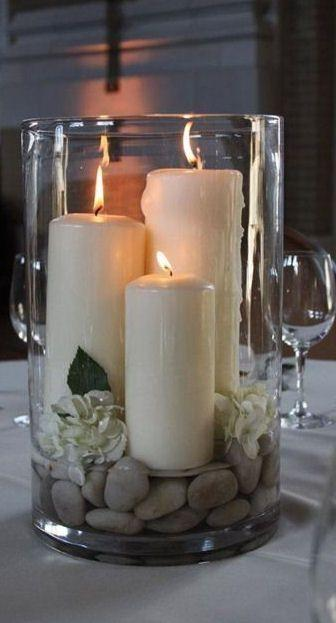 Mariage - Inspiration For A Table Setting -- And A Substitute For Pricey Vase Filler. Go Outdoors And Find Some Stones!