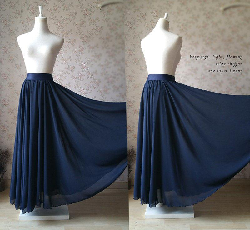 Wedding - 2017 Full Maxi Skirt Silky Chiffon Maxi Skirt Womens Maxi Skirt Beach Wedding Bridesmaid Skirt, Wedding Long Skirt Plus Size XXXL (T1847)