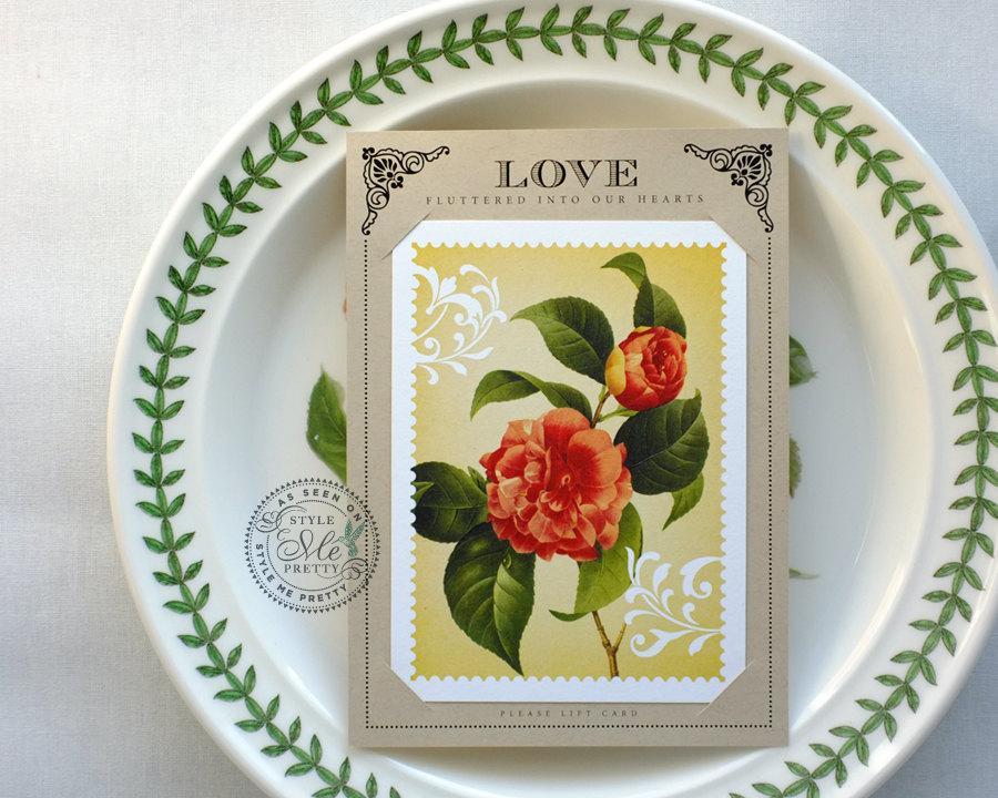 زفاف - Pull-out postcard wedding invitation: Garden of Love / 100% recycled paper, kraft, rustic, vintage, love birds [DEPOSIT]