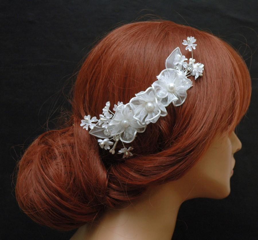 White Silk Flower Hair Comb Wedding Hair Comb Floral Bridal Comb