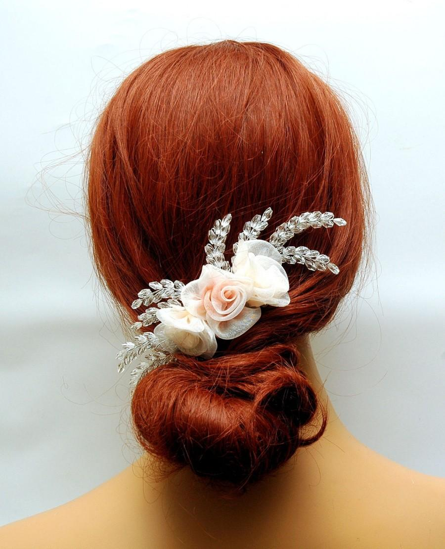 Hochzeit - Wedding Flower Hair Comb, Blush Pink Peach Organza Flower Headpiece, Rustic Wedding Hair Piece, Bohemian Bridal Hair Comb, One of a Kind - $30.00 USD