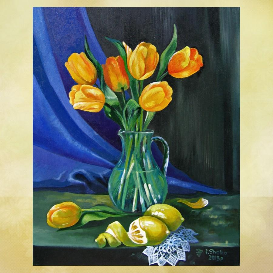 Black Flower Watercolor Art By Tae Lee: Oil Painting ,Yellow Tulips , Still Life , Original Oil