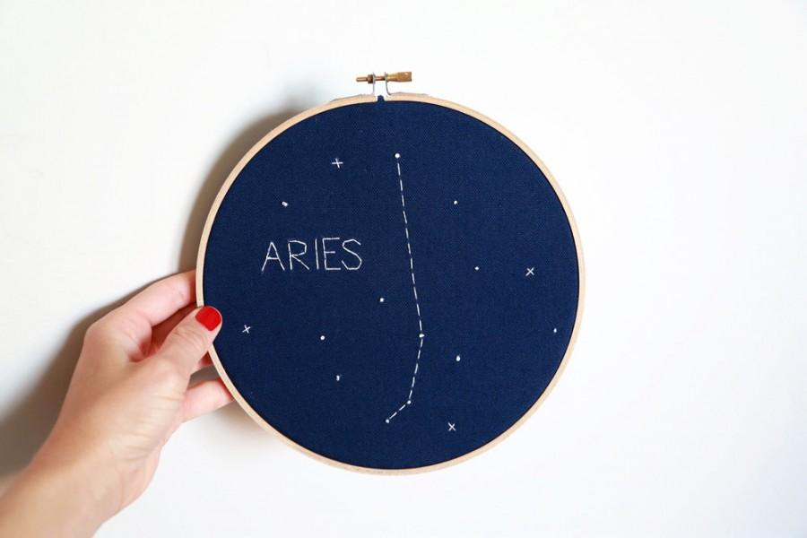 Wedding - ARIES Custom Glow-in-the-dark Zodiac Constellation Embroidery Hoop Art - Astrology Wall Hanging - Aries wall decor - Aries Birthday -Nursery