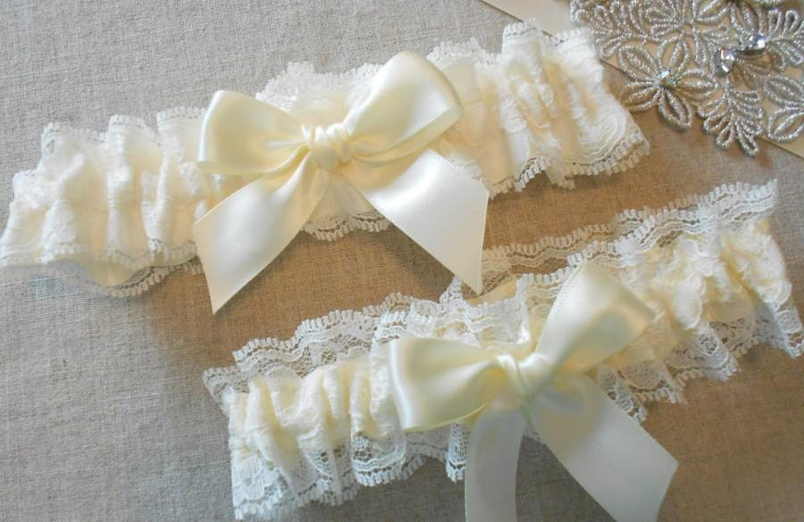 Свадьба - Wedding Garter Set Lace and Custom Color Satin Set with Beautiful Bow Garter Set