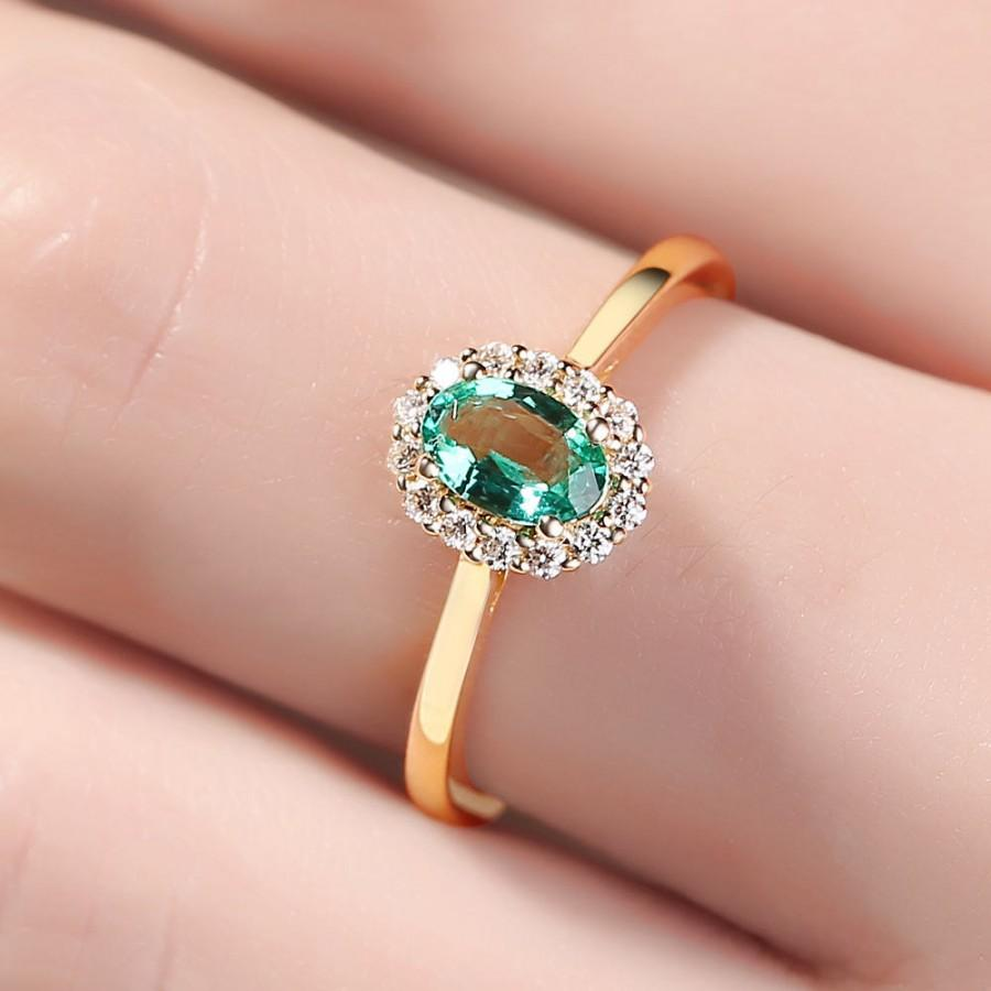 Emerald Engagement Ring, Natural Emerald Diamond Ring Halo Diamond ...