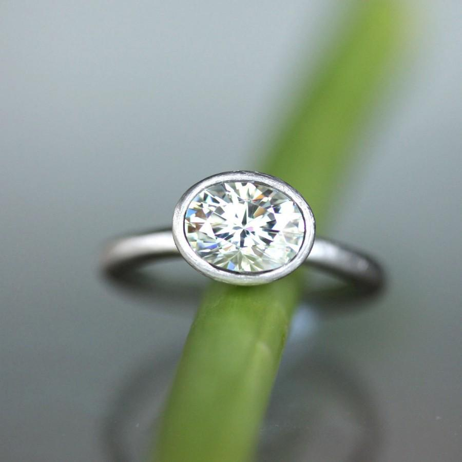 Hochzeit - Forever Brilliant Moissanite Engagement Ring,  Recycled 14K Palladium White Gold Ring, Stacking Ring - Made To Order