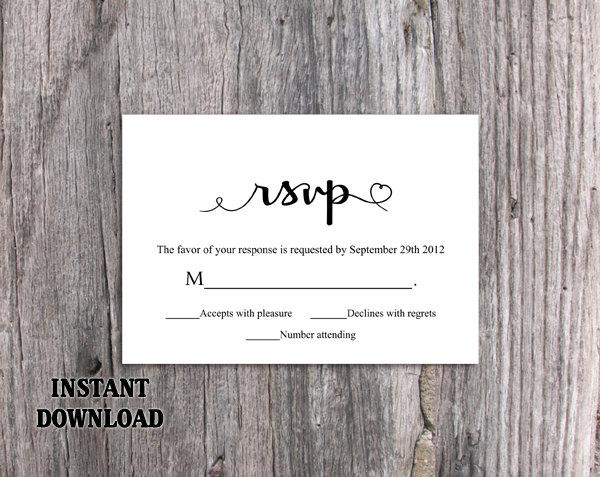 Wedding - DIY Wedding RSVP Template Download Printable Wedding Rsvp Cards Editable Black Rsvp Postcard Heart Rsvp Card Template Elegant Response Cards