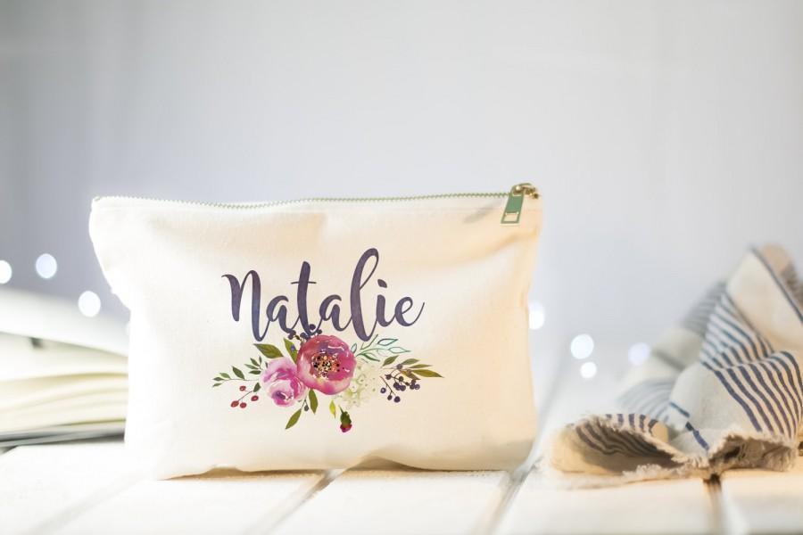 Mariage - Bridesmaid Makeup Bag, Make Up Bag, Bridesmaids Gifts, Monogram Cosmetic Bag, Floral Makeup Bag, Bridesmaids, Will You Be My Bridesmaid Bag