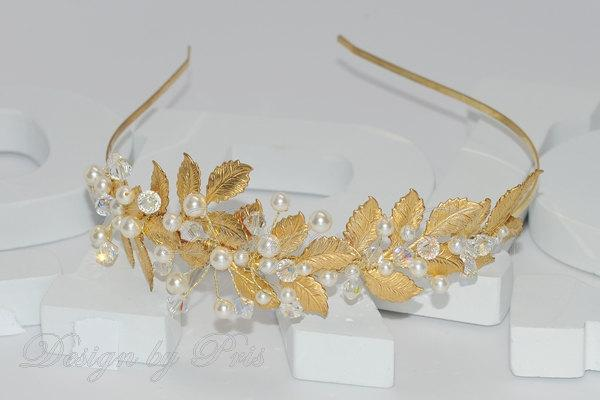 Wedding - SALE Bridal Accessories Wedding Hair Bridal Gold/Silver Tone Headband Bridal Swarovski Clear Crystals and White Pearls Headband