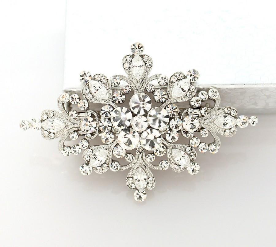 Bridal Barrette Crystal Hair Clip Glam Old Hollywood Wedding Jewelry Diamond Shape Rhinestone Piece Accessory