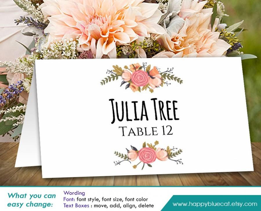 "زفاف - DiY Printable Wedding Place Card Template - Instant Download - EDITABLE TEXT - Rustic Vintage Floral 3,5""x2"" - Microsoft® Word HBC4n"