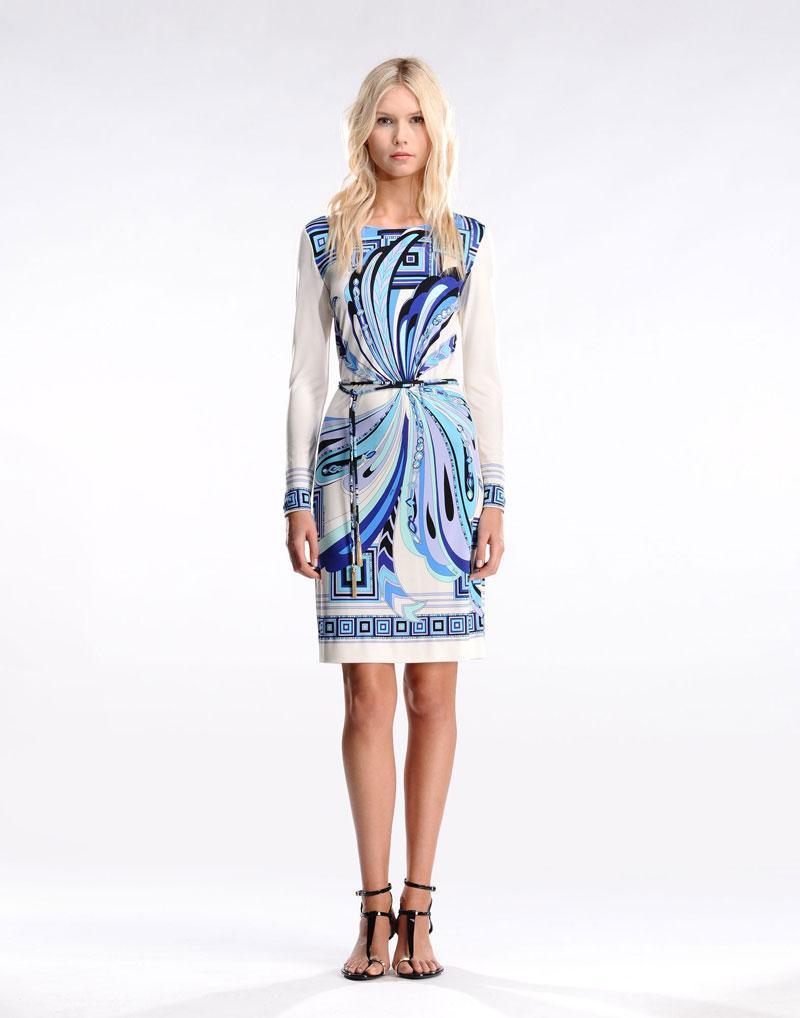 Wedding - Emilio Pucci Farfalla Print Long Sleeves Dress Blue