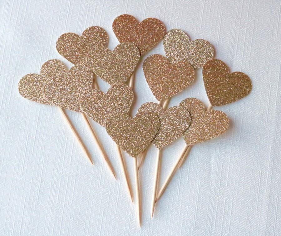 Hochzeit - DOUBLE SIDED Rose gold glitter Heart cupcake toppers, rustic wedding cupcake toppers, rose gold wedding, rose gold cupcake toppers, i do