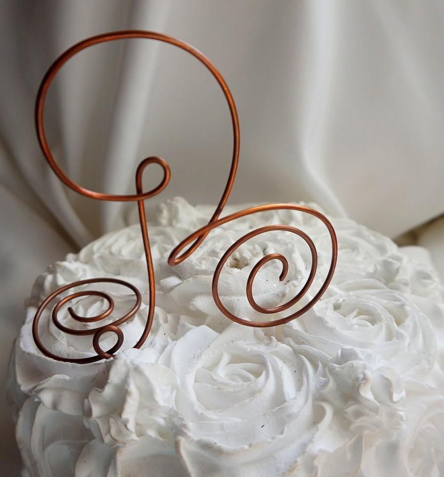 Hochzeit - Rustic Country Wedding Decor,  Copper Letter Cake Topper