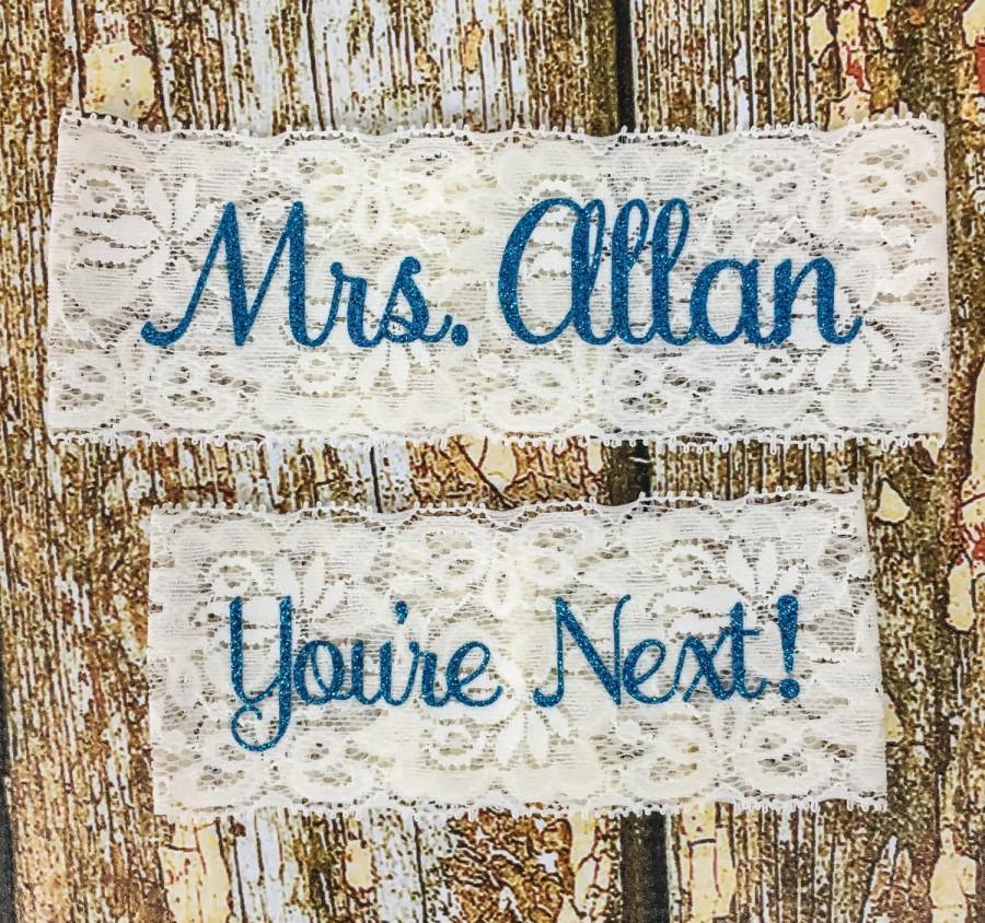 Mariage - Wedding Garter, Personalized Garters, Something Blue, You're Next, Wedding Garter, Personalized Wedding Garters, Nice Catch, Toss Garter