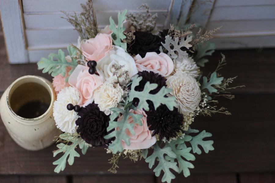 Mariage - Blush pink and dark purple bouquet, sola bouquet, wedding bouquet, bridal bouquet, rustic wedding, elegant wedding