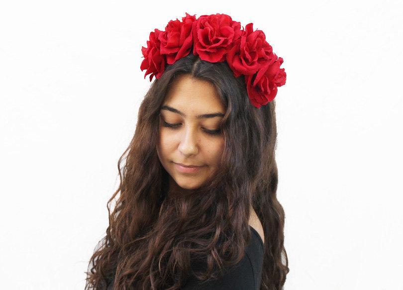 Wedding - Red Rose Flower Crown, Red Rose Headband, Frida Kahlo, Flower Crown, Red, Floral Crown, Red Rose Crown, Rose Headpiece, Red Rose Crown, Boho