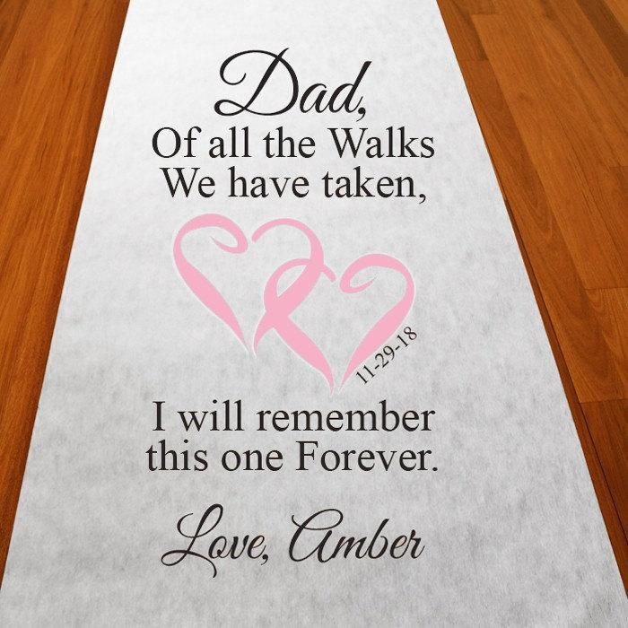 Mariage - Of All The Walks with Dad Personalized Walk With Dad Aisle Runner - Elegant Plain White Ais Runner - PWLKSAR51