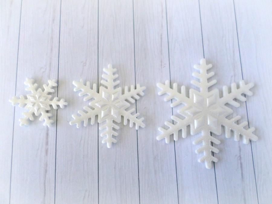 Hochzeit - 36 Edible Single Snowflakes Fondant Cake Cupcake Decor Toppers Frozen Party, Winter Wonderland Birthday Baby Bridal Shower Wedding Topper