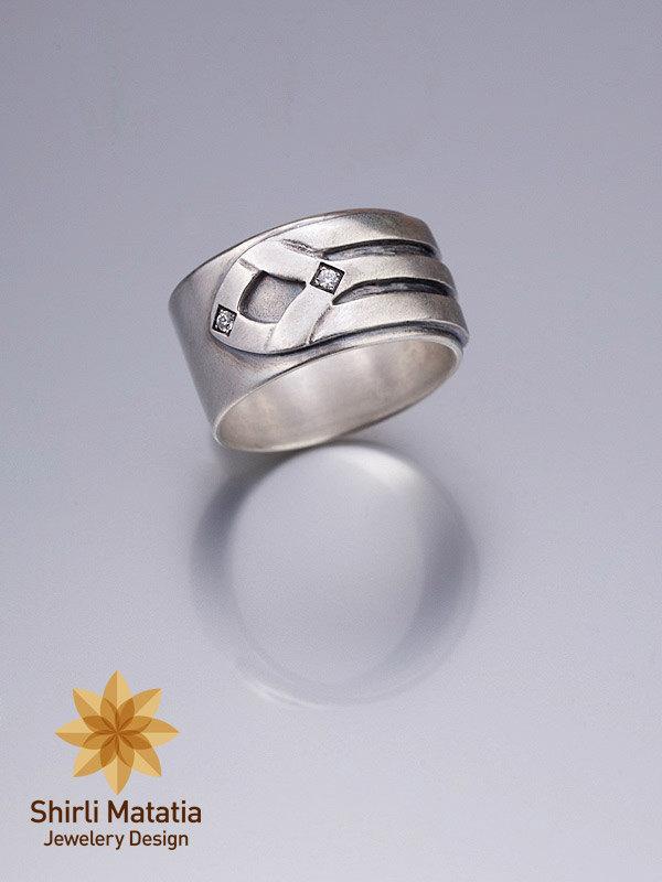 Mariage - Silver Alternative Wedding Band - wedding band, engagement ring , men's ring , silver ring , alternative engagement ring