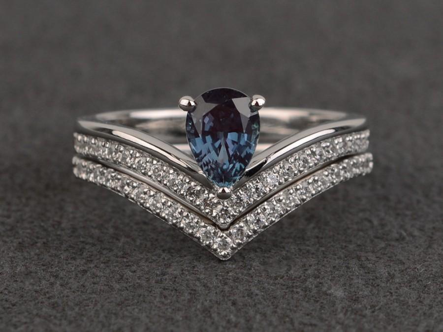 زفاف - alexandrite rings color engagement ring set pear cut stacking ring set color change gemstone rings sterling silver double band rings