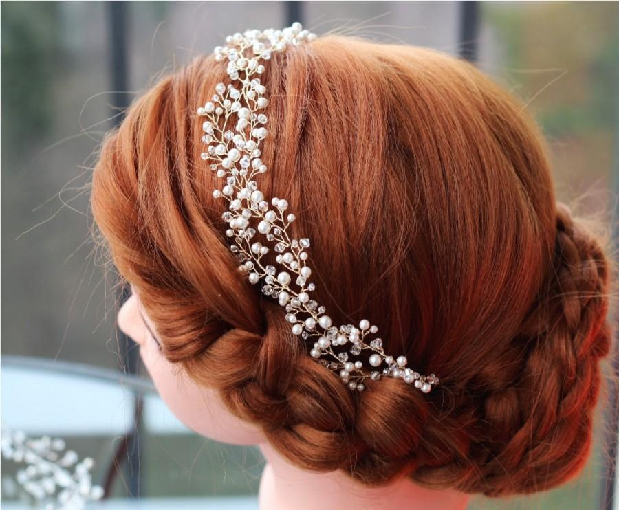 Mariage - Wedding headband, Pearl Bridal headband, Pearl headband, Bridal headband, Bridal halo, Pearl hair vine, Bridal hair accessories, Tiara