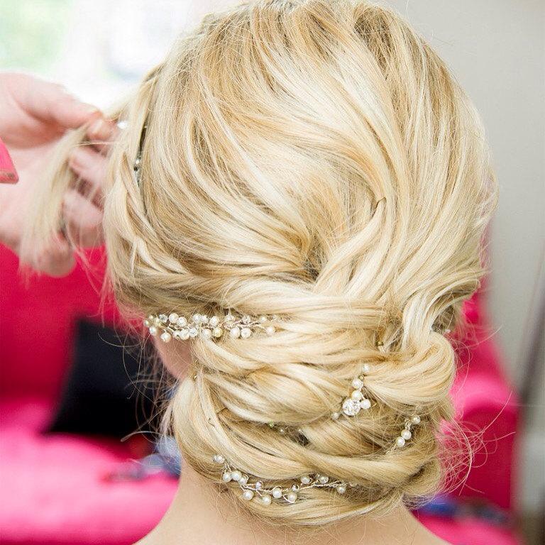 """Mariage - Made to Order """"Elizabeth"""" Wedding Bridal' Hairvine Hairpiece Headpiece"""