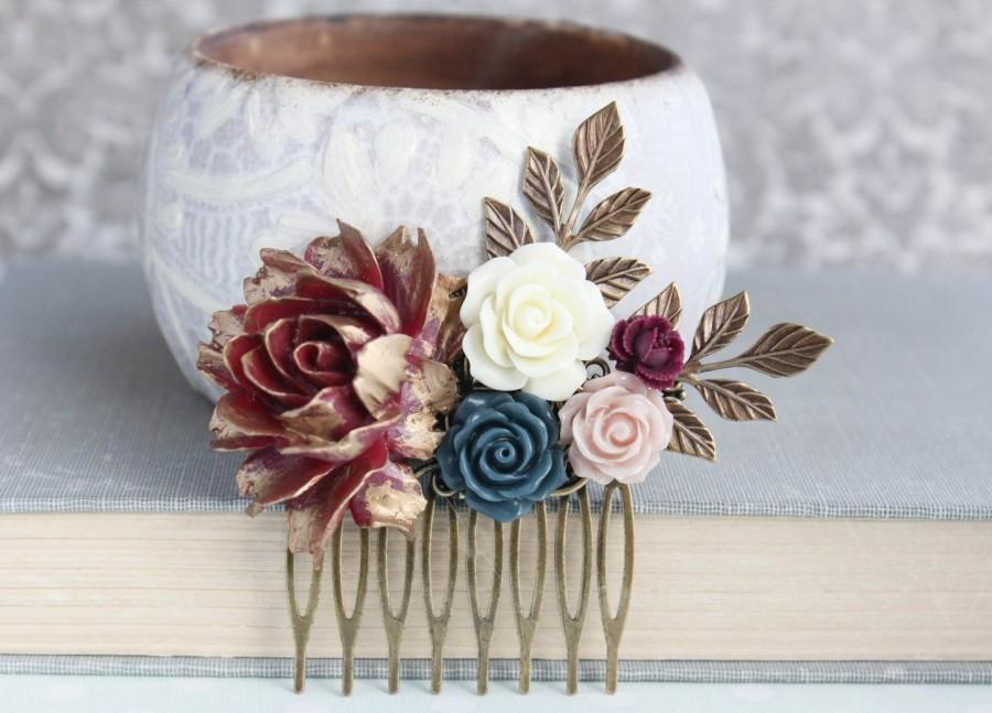 Floral Hair Piece Navy And Deep Red Wedding Bridal Comb Antique Gold