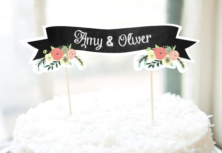 photo about Cake Banner Printable named Customized Cake Banner Printable - Chalkboard // Floral